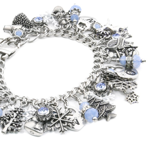 Snowflake Charm Bracelet: Silver Winter Jewelry Snowflake Jewelry Snow Bracelet