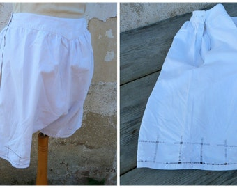 Vintage 1900 Edwardian French bloomers closed crotch /white cotton pantalons size  S
