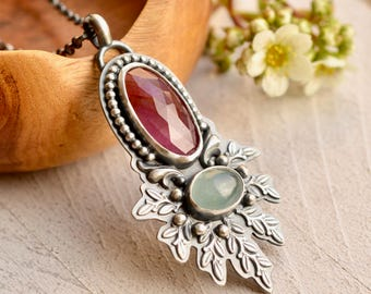 Pink Sapphire Necklace, Aquamarine Necklace, Botanical Metalwork, Modern Boho Style, Boho Chic, Artisan Jewelry, Pink Stone Necklace