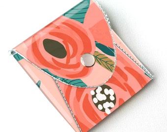 NEW Handmade Vinyl Coin Purse - Botanical Pink/ wallet, vegan, change, snap, small, little, pocket wallet, gift, floral, pink, flowers