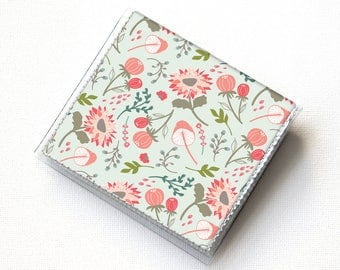 Vinyl Moo Square Card Holder - Springtime Flora / case, vinyl, snap, wallet, mini card case, moo case, square, floral, flowers, small, vegan