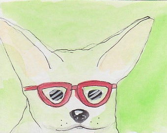Myopic dog with glasses notecard