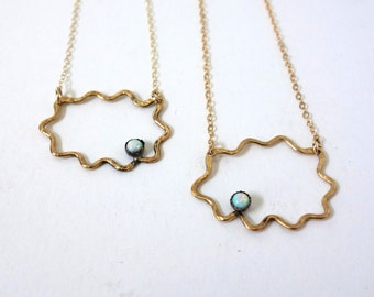 Opal and Gold Squiggle Cloud Necklace