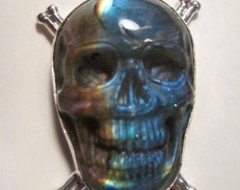 Labradorite SKULL Sterling Silver Pendant... AWESOME !!!!  ..