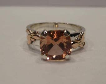 Beautiful Cushion Cut Peach Oregon Sunstone  Ring ... Sterling Silver and 14 kt Rose Gold Dragonflies.. Size 8 ... A14