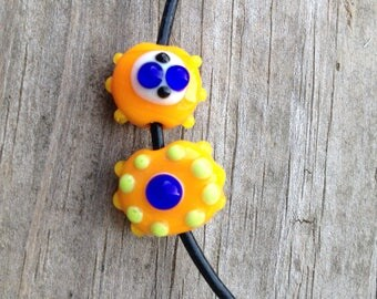 Pair of Small Orange and Blue Crazy Dotted Beads Artisan Handmade Glass Beads For Jewelry Design