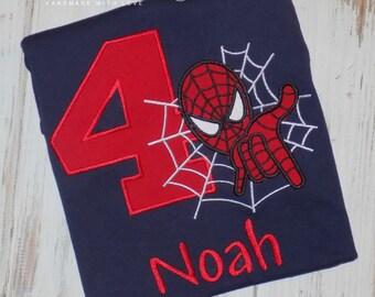 Superhero Birthday shirt, Super hero birthday shirt, Spider hero shirt, Spider hero birthday shirt, Boy Birthday shirt, sew cute creations
