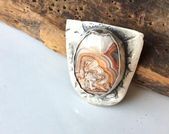 Fine Silver PMC Pendant, Rosetta Stone Pendant, Art Clay Pendant, Carved Pendant, Bezel Set Stone Pendant, Pink Stone Pendant