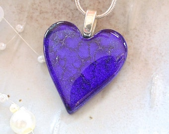 Purple Heart, Fused Glass Jewelry, Fused Dichroic Heart Pendant, Glass Jewelry, Purple, Necklace Included, A8