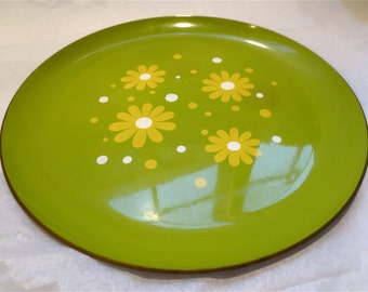 MOD Olive Green Flower Design  Serving Tray - Vintage 1960s Made in Japan Lacquerware