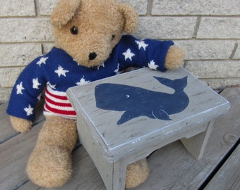 WHALE Kids Wood Step Stool - Original Hand Painted HALE NAVY - Primitive/Rustic - Sturdy Solid Wood