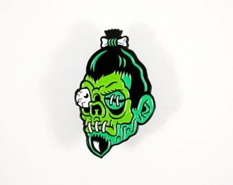 "SHRUNKEN HEAD 1.5"" Enamel Pin - Tiki Zombie Skull Lapel Pin"