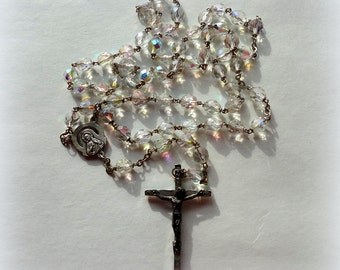 Vintage Crystal Glass Bead Rosary Silver Crucifix Rainbow Aurora Borealis Metal Old Chaplet Prayer Beads Something Old Bride Wedding Gift