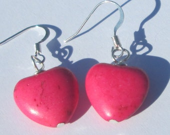 RESERVED FOR MIGAN small rustic pink heart shaped stone pierced dangle hand made wire wrapped earrings