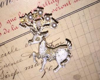 Vintage Christmas Reindeer Brooch