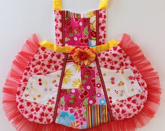 Slice of Summer Apron, toddler apron, strawberry apron, accesories, apron, dress up, costume