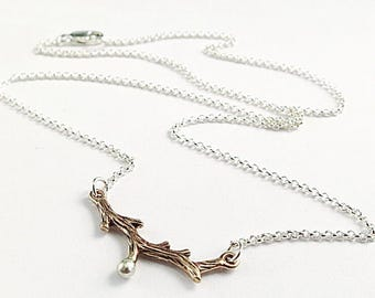Twig necklace, Sterling Silver, bronze branch, Nature inspired jewelry, layering