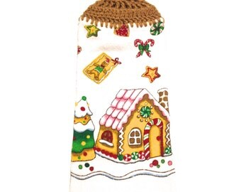 Gingerbread House Hand Towel With Warm Brown Crocheted Top