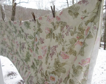 Large Vintage Floral Tablecloth - Pink Lavender Blue Sage White - Flowers and Grapes - Mothers Day