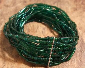 Hunter Green Stretch Bracelet  Hunter Green Multi-Strand Stretch Bracelet Hunter Green Stretch Glass Bead Bracelet Handmade bracelet