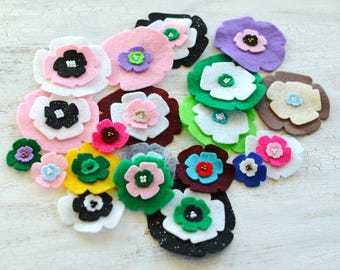 Die cut flowers, felt flower appliques, felt fabric flowers bulk, felt appliques, scrapbook embellishments (20pcs)- GRAB BAG FLOWERS (set13)