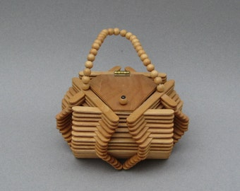 Vintage Popsicle Stick Purse Folk Art Wood Craft Handmade Hexagonal Box Purse