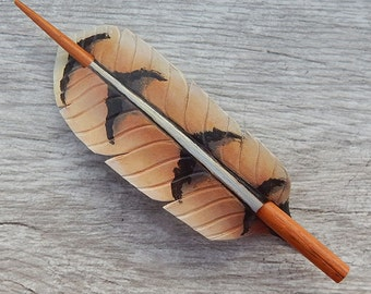 Leather Hair Stick - Red Tail Hawk Feather Leather Hair Slide, Barrette or Shawl Pin - Raptor Feather