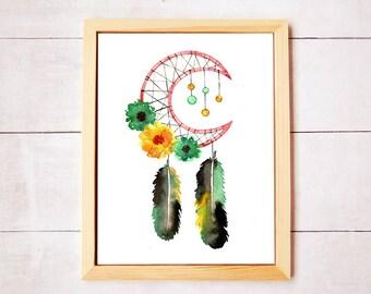 Dreamcatcher Moon Botanical Watercolor Art - Digital Download