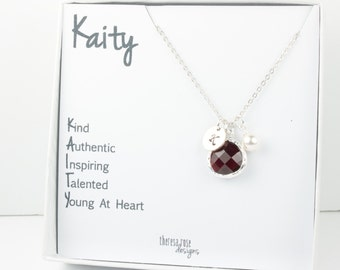 January Birthstone Personalized Silver Necklace With Custom Name Jewelry Card, Personalized Silver Necklace, January Birthday Gift