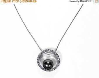 DIAMOND Necklace, Gray Cultured Tahitian Pearl Necklace, 9mm Circle 14K White Gold .40 Ctw Bridal Holiday Gift Her - Jewelry by edmdesigns