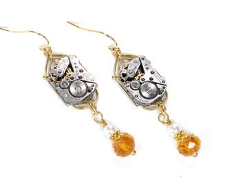 Steampunk Jewelry Earrings Gold Art DECO Watch White Pearl, Light Amber Crystal Dangle Earrings, Bridal Mothers Day - Jewelry by edmdesigns