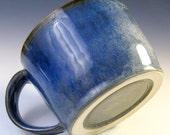 Handmade Pottery Soup Mug, Ceramic Latte Mug in Denim Blue