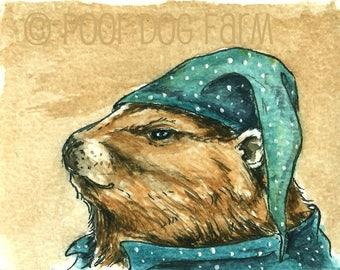 Ground Hog in PJs - Original ACEO Painting