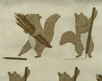 Squirrels and Pencils beige brown Japanese cotton linen canvas D1