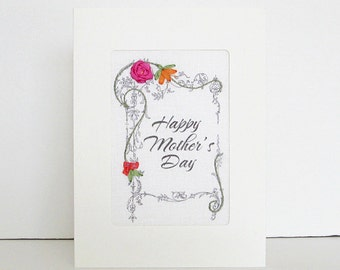 Mother's Day card, embroidered greeting card, silk ribbon card, handmade card, ribbon embroidery card