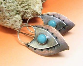 Mixed Metal Amazonite Earrings Tribal Inspired Sterling Silver And Copper Metalsmith Jewelry