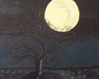 Super Moon, Hand Painted Acrylic Painting, Tree, Land, Clouds, Stars, One of a Kind, Original, Signed