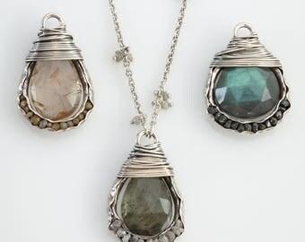 Teardrop Wrapped Diamond Groove Necklace