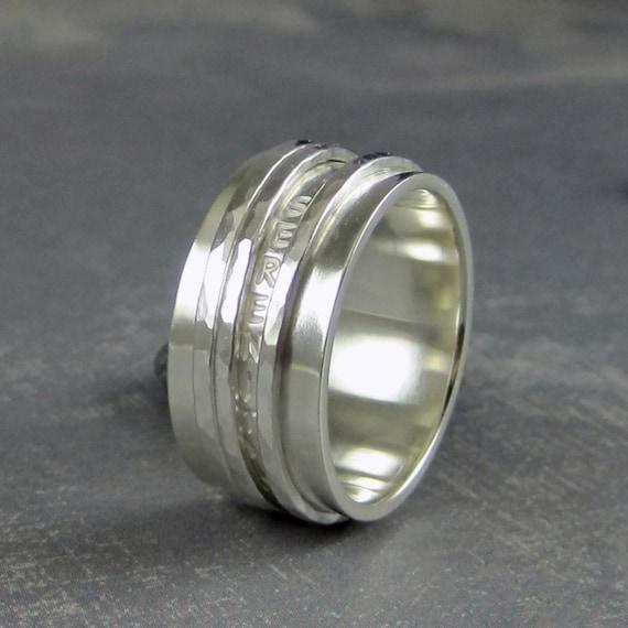Serenity Prayer Ring Sterling Silver Spinner Ring With