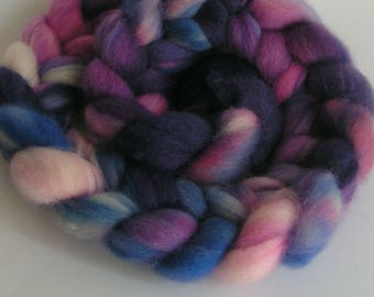 Roving Fiber Wool Top COLUMBIA Top ANNA Hand Painted Spin Felt Craft Handspinning 4 ounces Purple Blue