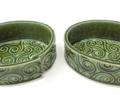 Reserved for Leslie Cerve - Set of 2 Green Textured Swirl Handmade Ceramic Pottery Trinket Tray Dishes