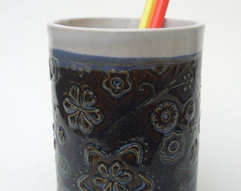 Slate Blue and White Textured Floral Handmade Ceramic Pottery Pencil Holder Cup Vase