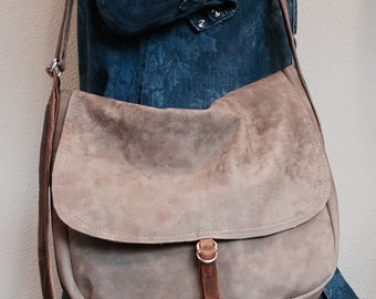 NEW STYLE//Pewter Grey Leather  Satchel with Adjustable Messenger Strap