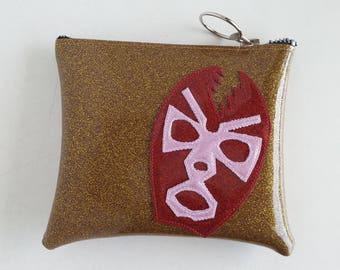 Dark gold metalflake vinyl make up bag with pink and wine lucha mask