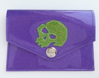 Metalflake Vinyl Snap Wallet Id Holder Purple with Lime Green Skull