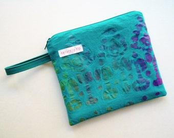 "7"" x 6"" Single Pocket Wet Bag, Turquoise Purple Green Batik Cotton, PUL Lined, Water Resistant Washable Zipper Pouch Menstrual Pad Travel"