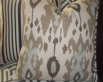 Ballard Designs Ikat Spa  pillow cover brown spa blue on tan retired fabric