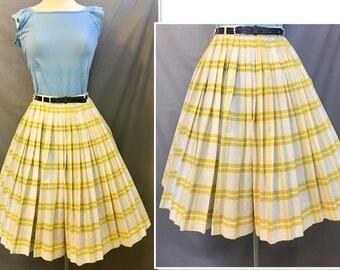 VTG 1950's Lemon Yellow Cotton Full Pleated Skirt by Miss Pat/California