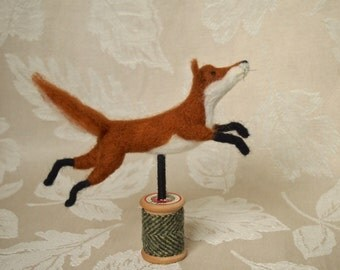 Needle felted fox...'A Flying Leap'