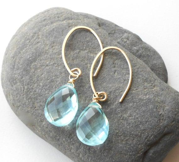 Aqua Quartz , Gold Drop Earrings, Sterling Silver Dangle Earrings, Gemstone Briolette Drop Earrings